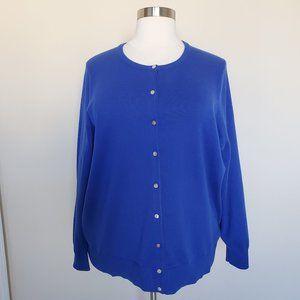 Lands End Plus Sz 3X 24W-26W Blue Cardigan Sweater
